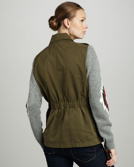 Knit-Sleeve Army Jacket