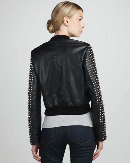 Stud-Sleeve Leather Jacket