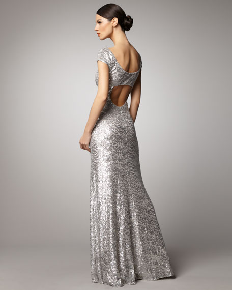 Scoop-Neck Sequin Gown