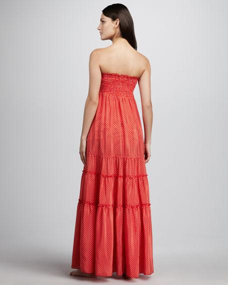 Polka-Dot Smocked Maxi Dress