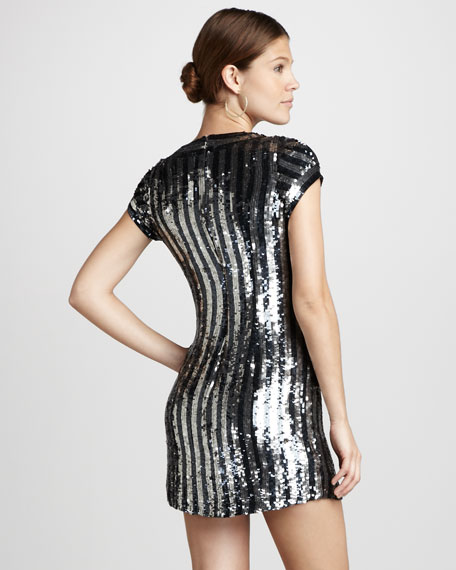 Striped Sequined Dress