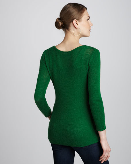 Velvet Slim Sweater, Green