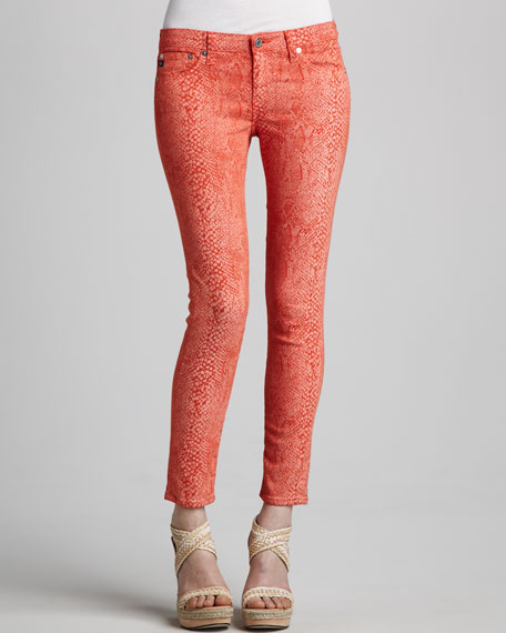 Sateen Snake-Print Leggings