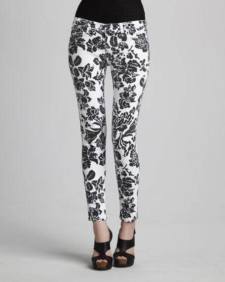 Sateen Floral-Print Leggings