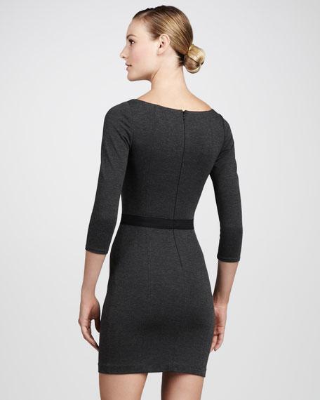 Lace-Inset Ponte Dress
