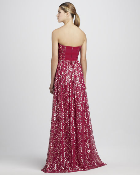 Shirred Metallic Gown