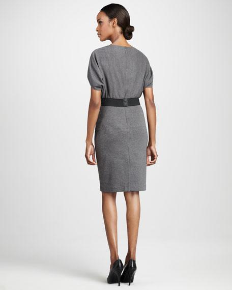 Ribbed Cape-Sleeve Dress
