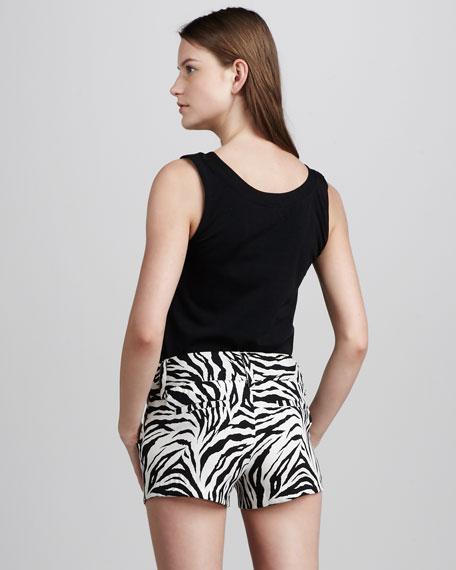 Zebra-Print Twill Shorts