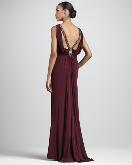 Bead-Back Jersey Gown