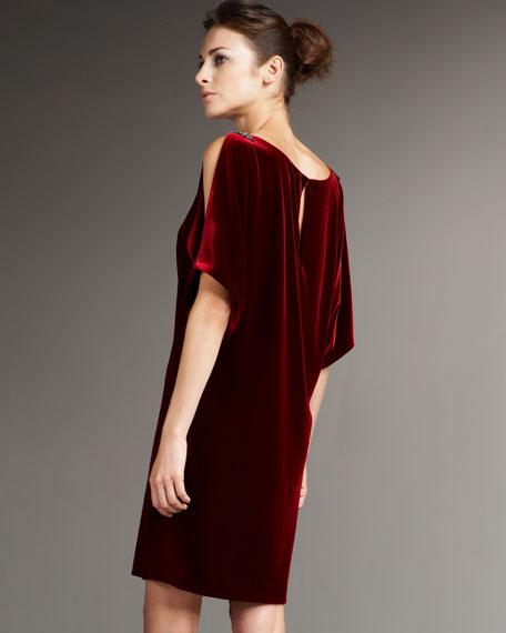 Slit-Sleeve Velvet Shift Dress