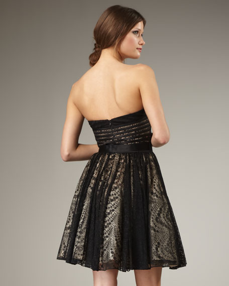 Lace-Skirt Strapless Dress