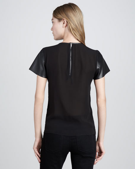 Heather Leather-Sleeve Tee