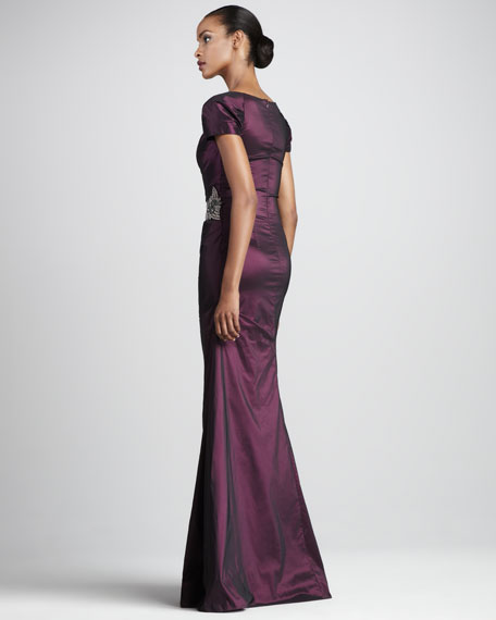 Gathered Square-Neck Gown