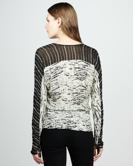 Beaded Zebra-Print Top