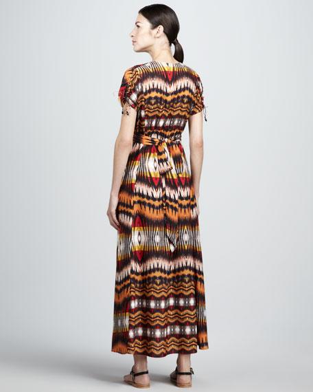 Ikat-Print Maxi Dress