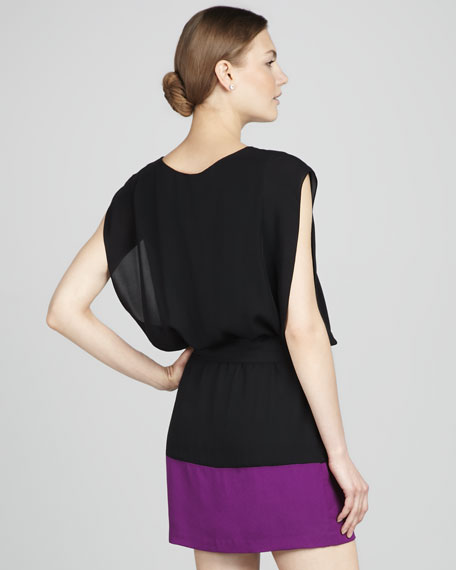 Colorblock Tie-Waist Shift Dress