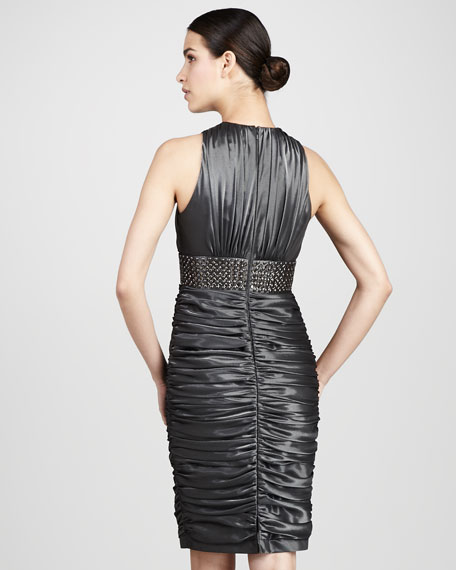 Studded Satin Cocktail Dress