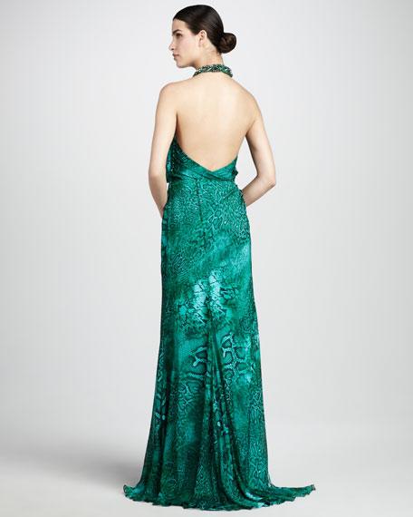 Snake-Print Halter Gown