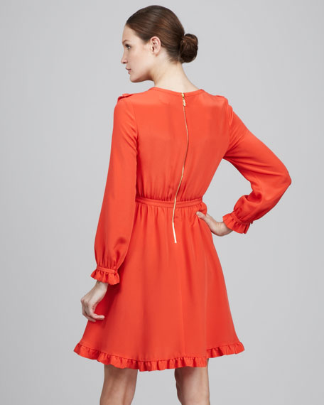adelle ruffled silk dress