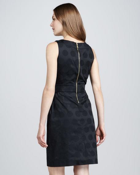 alme sleeveless dot jacquard dress
