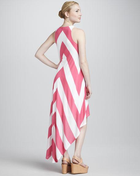 Chevron-Stripe Jersey Dress