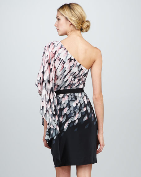 Falling Feather One-Shoulder Dress