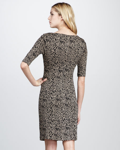 Cheetah-Print Ponte Sheath Dress