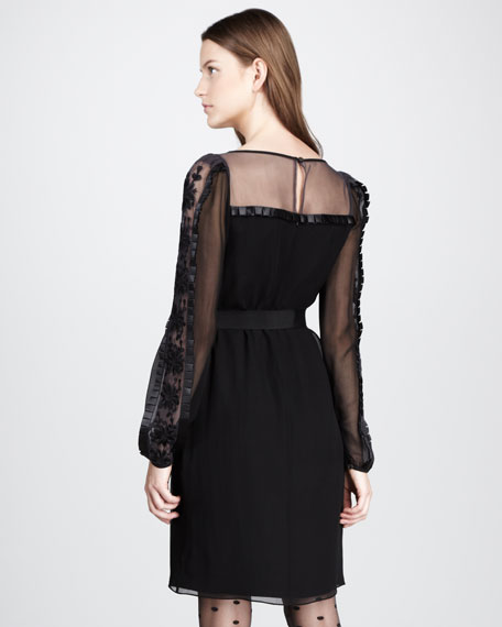 Vanessa Sheer-Yoke Dress
