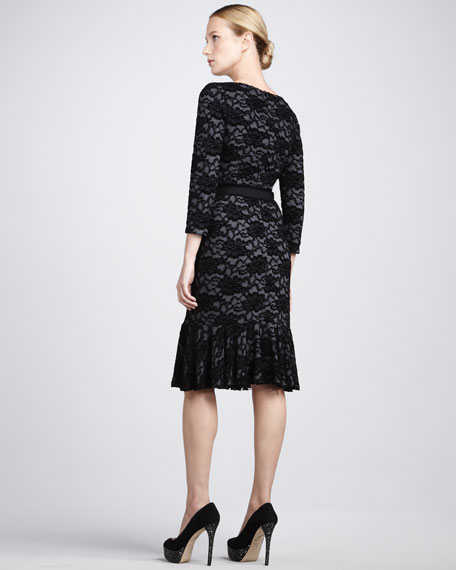 Ruffle-Hem Lace Dress
