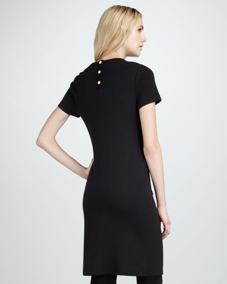 Anthea Wool-Trim Dress, Black