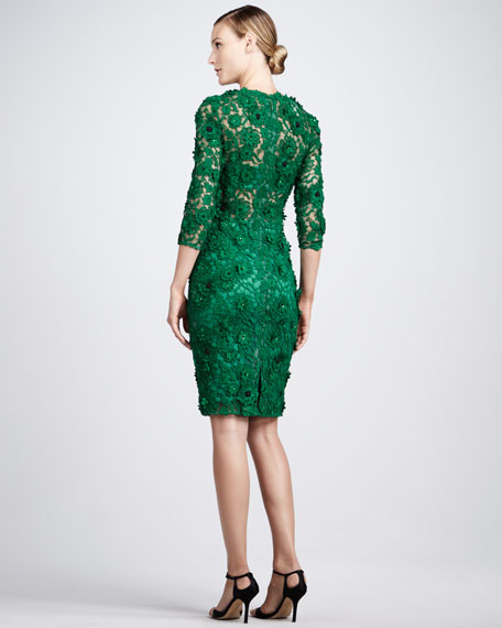 Floral-Lace Cocktail Dress