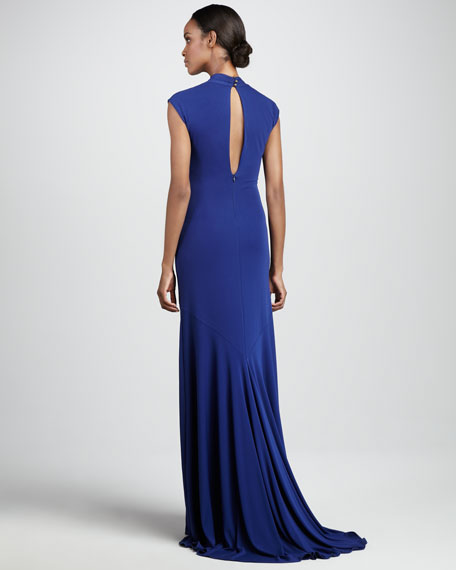 Gathered V-Neck Gown