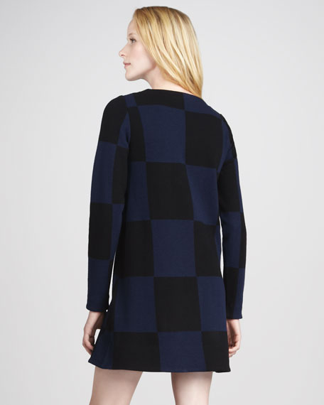 Checkered Long-Sleeve Knit Dress