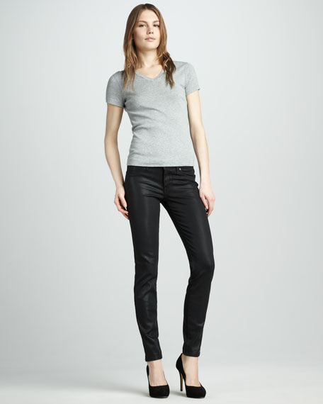 Tar Coated Faux-Leather Leggings