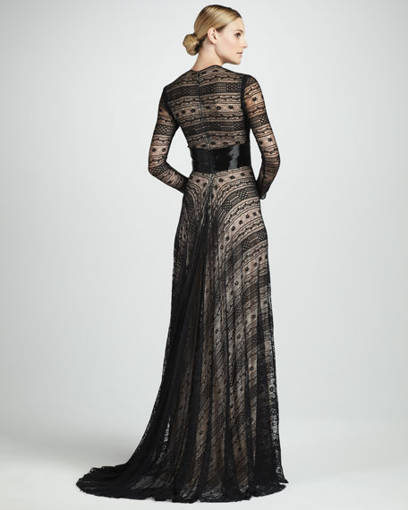Geometric-Lace Gown