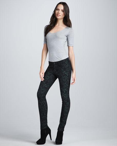 Skinny Lace-Jacquard Jeans