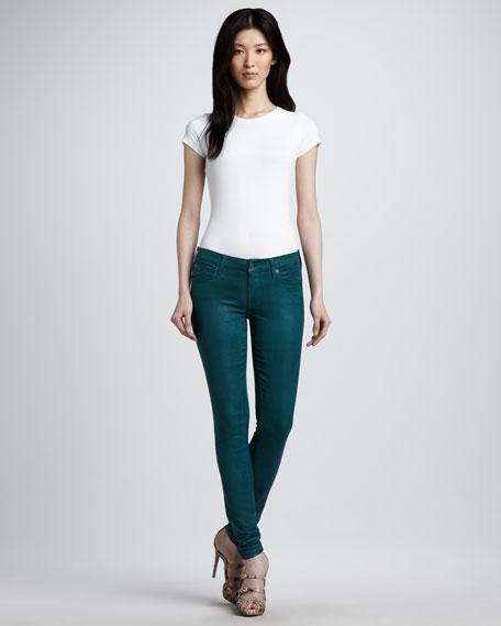 Skinny High-Shine Gummy Jeans, Evergreen