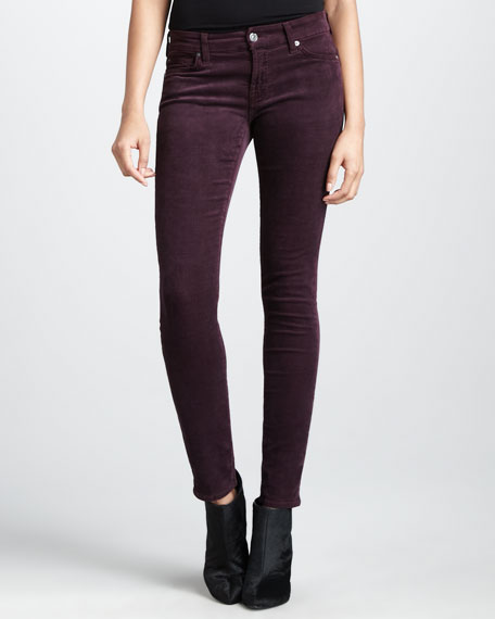 Skinny Eggplant Luxe Corduroy Pants