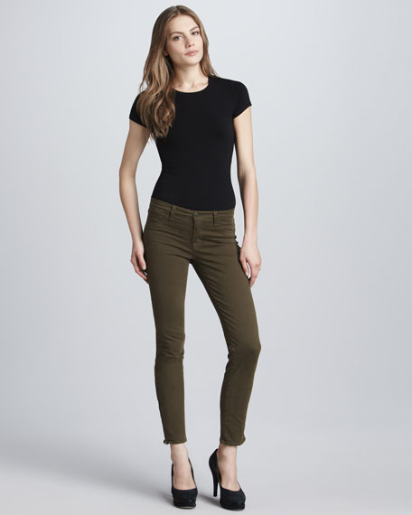 8610 Loden Mid-Rise Zip Skinny Jeans