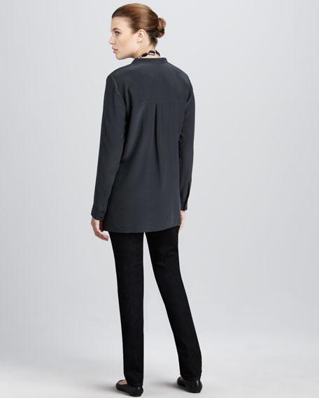 Silk Boxy Shirt, Petite