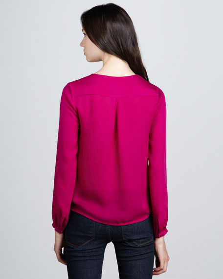 Draped Silk Long-Sleeve Blouse