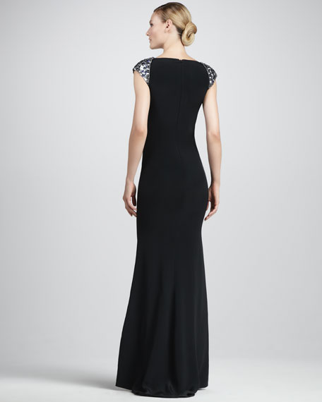 Embroidered Silk Gown