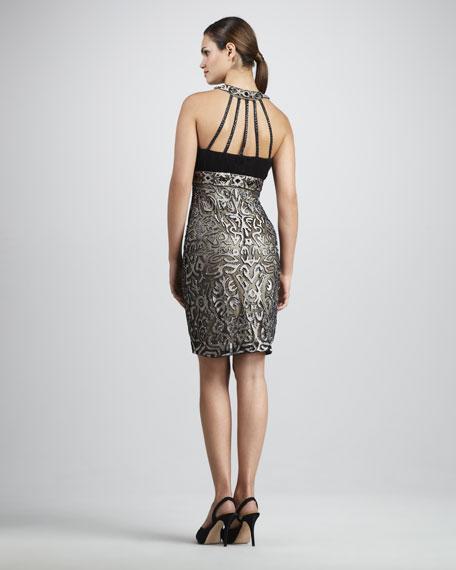 Embroidered Halter Cocktail Dress