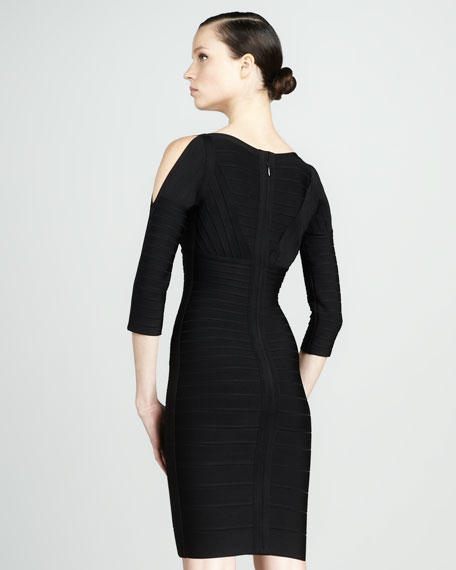 Slit-Sleeve Bandage Dress, Black