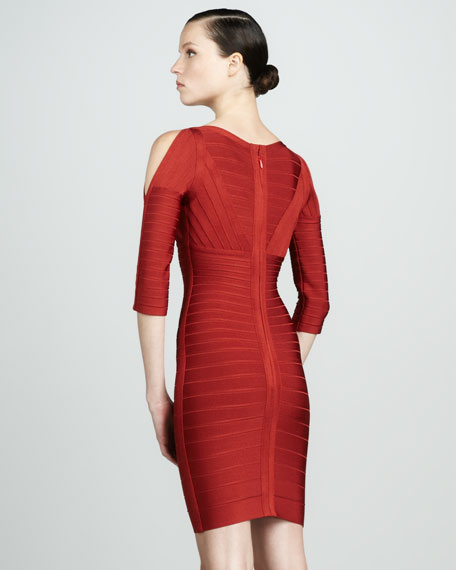Slit-Sleeve Bandage Dress, Red