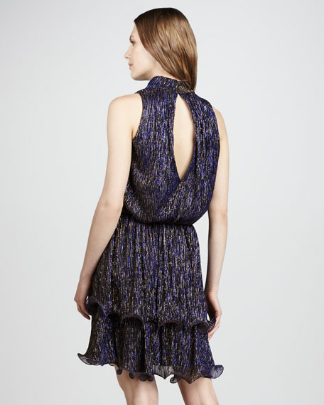 Ruffled Metallic Cocktail Dress