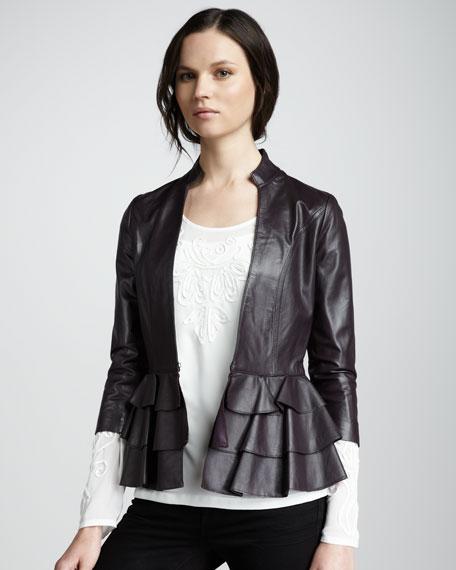 Page Ruffle-Hem Leather Jacket