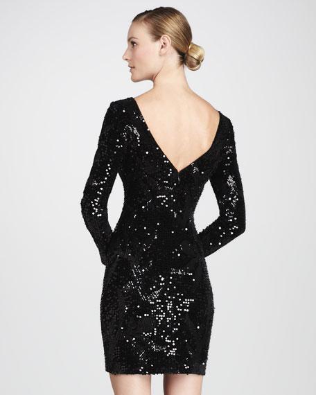 Sequined Velvet Cocktail Dress, Women's