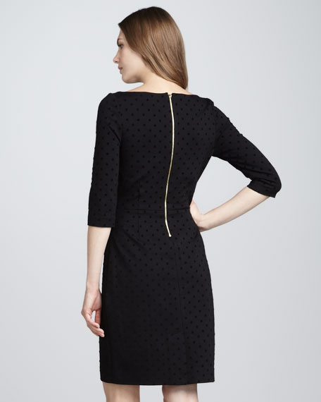 wendi three-quarter-sleeve flocked-dot dress