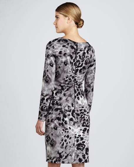 Asymmetric Animal-Print Dress